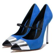 Uk Crazy Women Pointy Toe Color Stitching High Heel Strappy Shoes Pump Plus Size