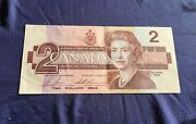 Rp2771 Vtg Canadian Two Dollar Bill Note 1986 Lot X2