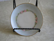 Hutschenreuther Selb Bavaria Hand Painted Center Pink Floral Band Gold Rim 7 Pl
