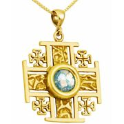 Roman Glass Jewelry And039jerusalem Crossand039 14k Gold Pendant - Made In The Holy Land