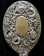Antique Chinese Hand Made Sterling Silver Dragons Mirror 9 3/8x 4