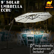 9ft Cantilever Solor Powered 40led 8 Rib Patio Umbrella Hanging Outdoor Sunshade
