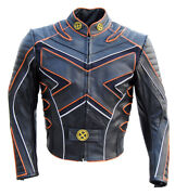 X-men 3 The Last Stand Motorcycle Leather Jacket Orange Liner Wolverine Costume