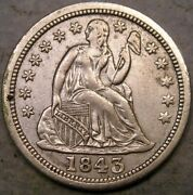 1843/1843 Liberty Seated Silver Dime Rare Major Doubled/repunched Date Fs-301