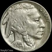 1930-s/s Rpm Indian Head Buffalo Nickel Au About Uncirculated Sku-3647