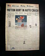 General George S. Patton Auto Accident World War Ii Us Army Fame 1945 Newspaper