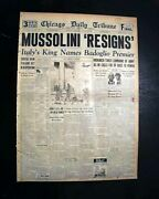 Great Benito Mussolini Ii Duce Ousted Italy World War Ii 1945 Wwii Newspaper