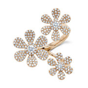Diamond Flower Ring 14k Rose Gold Pave Daisy Three 3 Wrap Cocktail .62ct Natural