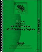 Oliver 18-36 Tractor Parts Manual Catalog 36 Hp Stationary Engines Hart Parr