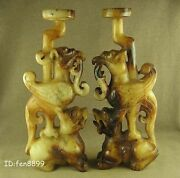 Pair 7.3with Carved Chinese Old Jade Phoenix Ride Dragon Candlestick Decoration
