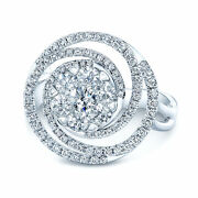 14k White Gold Diamond Swirl Ring Cocktail Round Cut Natural Right Hand Cluster