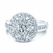 14k White Gold Diamond Illusion Cluster Cocktail Right Hand Ring 1.23 Ct Round