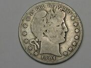 G/vg Better-date 1904-s Us Barber Half Dollar Most Of Lty Visible. 24
