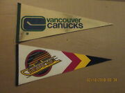 Nhl Vancouver Canucks Vintage Lot Of 2 1970's And 1990's Logo Hockey Pennants