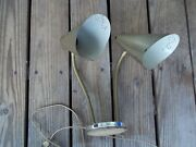 Vintage Crackle Gold Tone Double Bullet Cone Lamp Gooseneck Perforated Shades