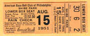 Super Vintage Shibe Park 1951 Ticket Stub-8/15/51 Bos Red Sox/philly A's