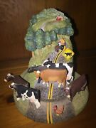 Vintage Cow Crossing Primitive Sculpture By Lowell Herrero Glass Dome 5/5 ❤️m17