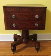 Gorgeous Antique American Empire Mahogany Sewing Cabinet Or Work Table C. 1830