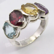 925 Sterling Silver Multicolor 4 Gemstones Ring Any Size Black Friday Prices