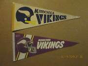 Nfl Minnesota Vikings Circa 1970and039s 2 Bar Helmet And 1980and039s 2 Bar Facemask Pennants