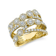 1.53ct 14k Yellow Gold Diamond Wide Open Multi Row Band Cocktail Crossover Ring