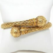 18 Kt Yellow Gold 1880's Victorian Etruscan Revival Crossover Bracelet 7 A5478