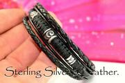 5b-077 Custom Made Sterling Silver And Leather Armband Wristband Men Bracelet.