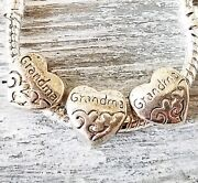 5 Or 20 Silver Grandma Heart Charms - European Style Beads - Diy Christmas Gifts