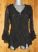 Nwt Pretty Angel Blouse Wrap Shirt Ruffles And Lace Sm-3x Vintage Victorian Black