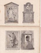 1827 Antique Engravings - London - Historic Carved Tablets - East Cheap, Holborn