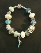 Blue And White Murano Glass Bead Silver 7.5 Shoe Charm Bracelet 1304 Nwot
