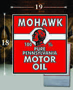 19 X 18 Mohawk Indian Motor Oil Gas Vinyl Decal Lubester Oil Pump Can Lubster