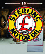 19 X 19 Sterling Motor Oil Gas Vinyl Decal Lubester Oil Pump Can Lubster
