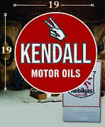 19 X 19 Kendall Shield Gas Vinyl Decal Lubester Oil Pump Can Lubster