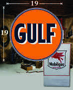 19 X 19 Gulf Shield Gas Vinyl Decal Lubester Oil Pump Can Lubster