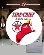19 X 19 Texaco Fire Chief Shield Gas Vinyl Decal Lubester Oil Pump Can Lubster