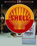 19 X 19 Shell Vintage Gas Vinyl Decal Lubester Oil Pump Can Lubster