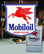 19 X 19 Mobil Oil Mobiloil Shield Gas Decal Lubester Oil Pump Can Restoration