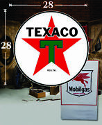 1 28 X 28 Texaco Shield Gas Vinyl Decal Lubester Oil Pump Can Lubster