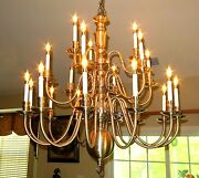 Unusual And Big Metal Chandelier With 21 Lamps. Old English Style. Great Looking.