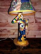 Collectible Vintage Chalkware/plaster Lamp Patchwork Scarecrow Fabric Lamp Shade