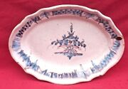 French Country Folk Art Blue White Faience Scalloped Oval Dish Rouen 19th C