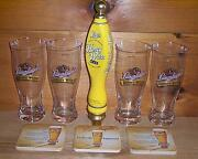 Leinenkugels Honey Weiss Tap Handle 4 Signature Beer Pub Glasses And Coasters New