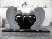Cemetery Usage Black Granite Double Double Heart Shaped Angel Monument