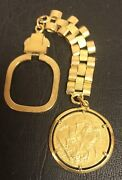 Yellow Gold Key Chain And 1927 British Sovereign Gold Coin Total Weight22.5gr