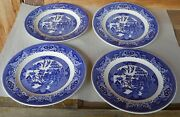 3 + 1 Vintage Blue Willow Ware Royal China 9 13/16 Dinner Plate Made Usa