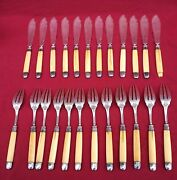 French Sterling Silver Fish Flatware Set For 12 Knives Forks 1880