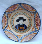 Henriot Quimper French Hand Painted Faience Plate Breton Corbeille Decor B