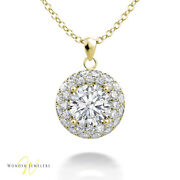 0.86ctw Gia Round Diamond 2 Row Halo Necklace Pendant 14k Gold D/vs22306656458