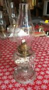 Antique Oil Lamp Fish Scale 2 Finger Footed Hand Lamp 14-1/2 Tall Over All